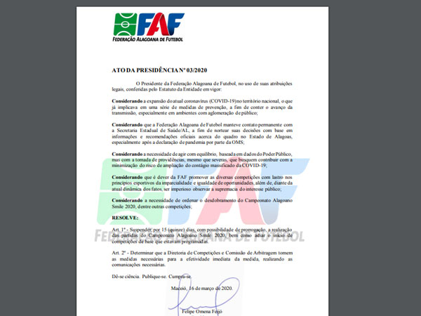 FAF suspende os jogos do Campeonato Alagoano por causa do COVID-19